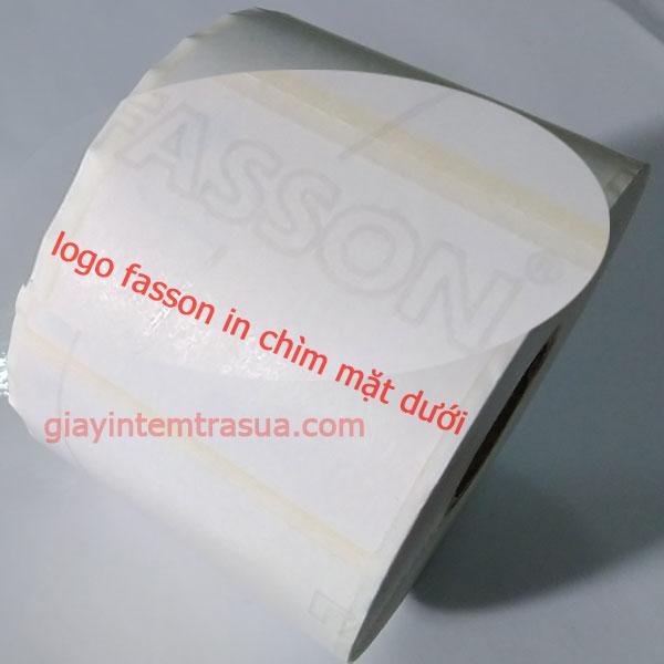 giấy fasson có logo chìm mặt sau của giấy