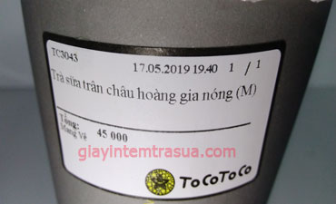 Giấy in tem trà sữa Tocotoco